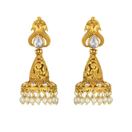 11859 Antique Jhumki with gold plating