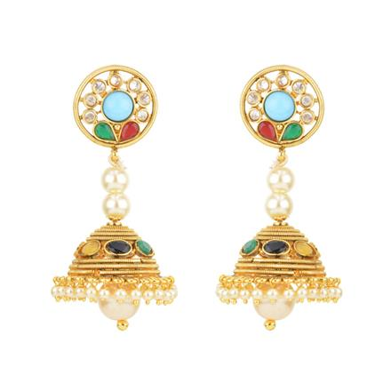 11875 Antique Jhumki with gold plating