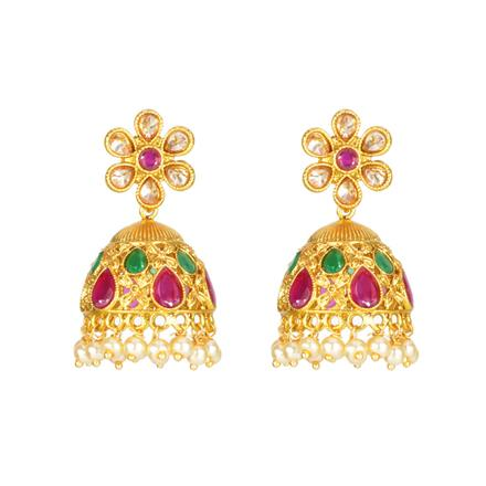 11912 Antique Jhumki with gold plating