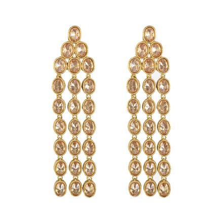 11929 Antique Long Earring with mehndi plating