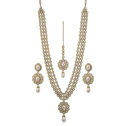11939 Antique Long Necklace with mehndi plating