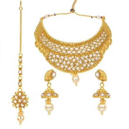 11966 Antique Mukut Necklace with gold plating