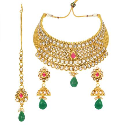 11967 Antique Mukut Necklace with gold plating