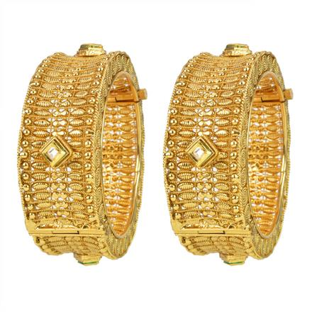 11976 Antique Plain Gold Bangles