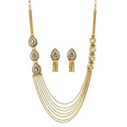 11993 Antique Side Pendant Necklace with gold plating