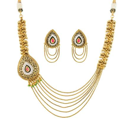 12007 Antique Side Pendant Necklace with gold plating