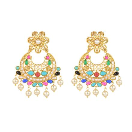 12016 Antique Chand Earring with gold plating