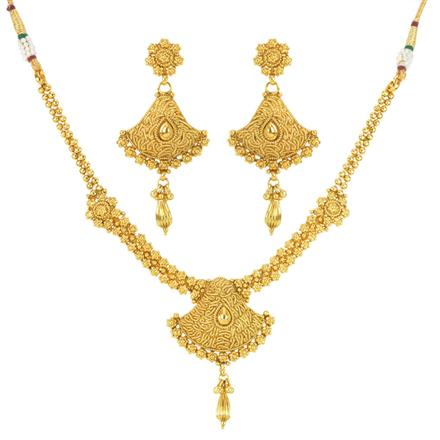 12022 Antique Plain Gold Necklace