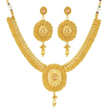 12041 Antique Plain Gold Necklace