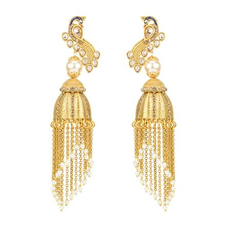 12112 Antique Peacock Earring with gold plating