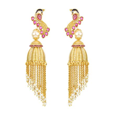 12121 Antique Peacock Earring with gold plating