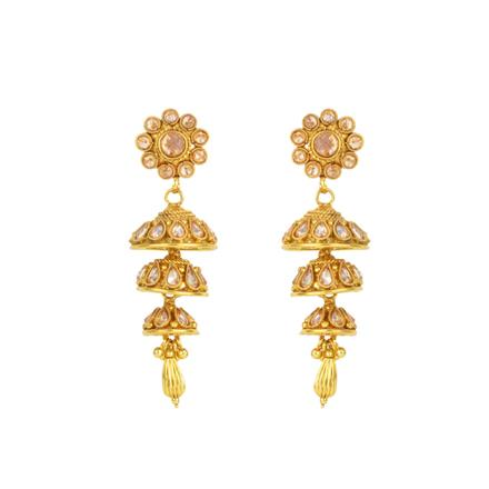 12132 Antique Jhumki with gold plating
