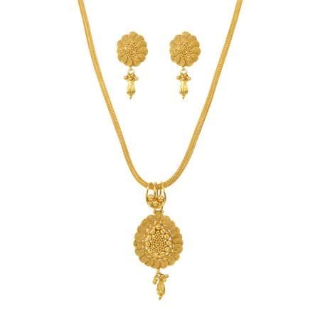 12144 Antique Plain Gold Pendant Set