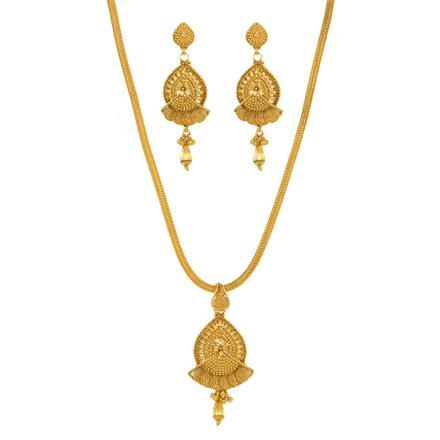 12145 Antique Plain Gold Pendant Set