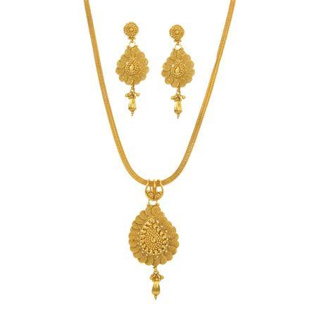 12146 Antique Plain Gold Pendant Set