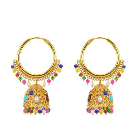 12164 Antique Jhumki with gold plating