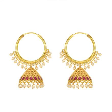 12165 Antique Jhumki with gold plating