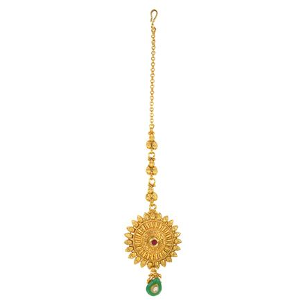 12197 Antique Plain Gold Tikka