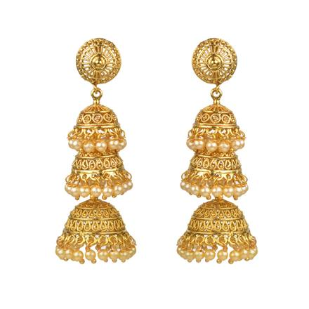 12201 Antique Jhumki with gold plating