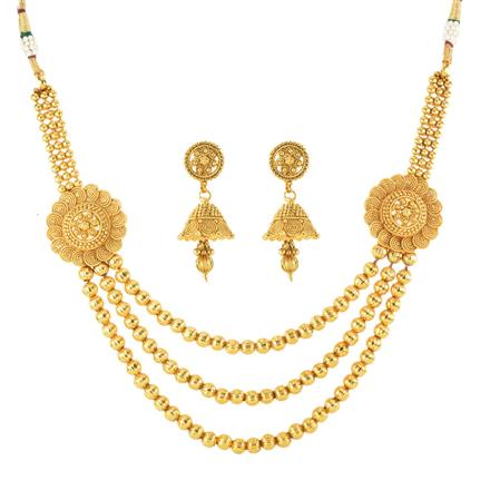 12206 Antique Side Pendant Necklace with gold plating