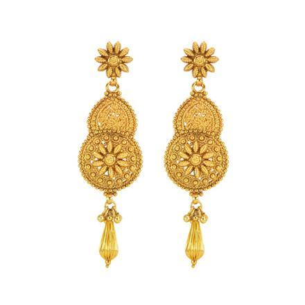 12215 Antique Plain Gold Earring