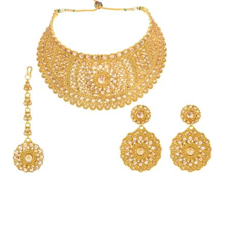 12249 Antique Mukut Necklace with gold plating