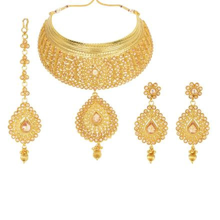 12250 Antique Mukut Necklace with gold plating