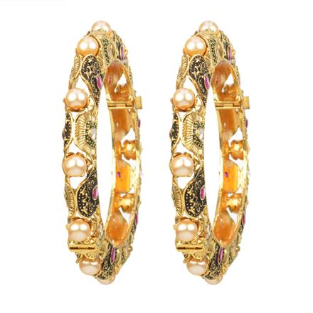12332 Antique Openable Bangles with gold plating