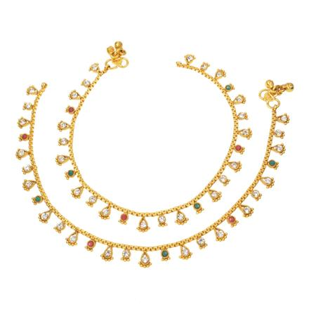 12404 Antique Delicate Payal with gold plating