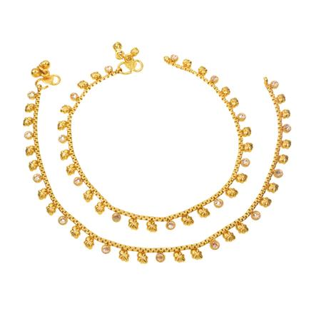 12411 Antique Delicate Payal with gold plating