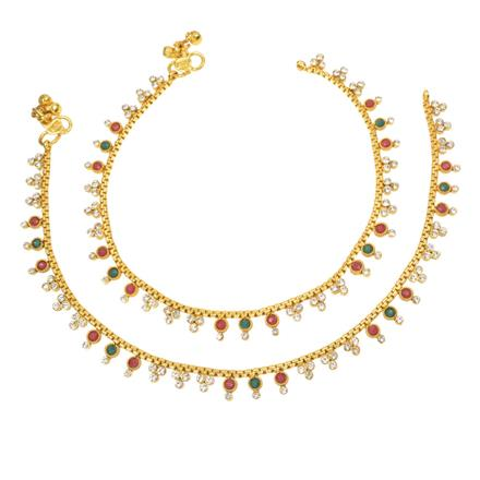 12412 Antique Delicate Payal with gold plating
