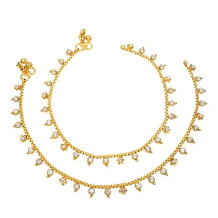 12413 Antique Delicate Payal with gold plating