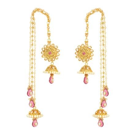 12435 Antique Long Earring with gold plating