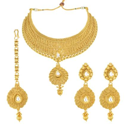 12532 Antique Mukut Necklace with gold plating