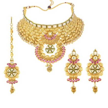 12543 Antique Mukut Necklace with gold plating
