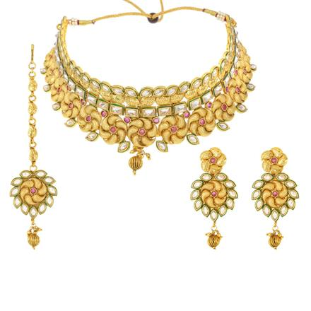 12544 Antique Mukut Necklace with gold plating