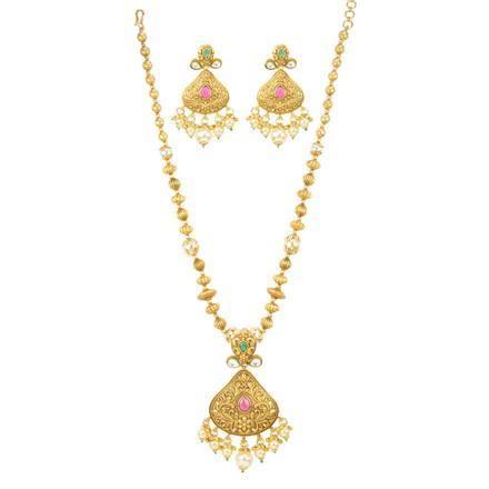 12548 Antique Mala Pendant Set with gold plating