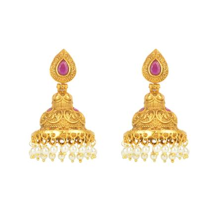 12549 Antique Jhumki with gold plating