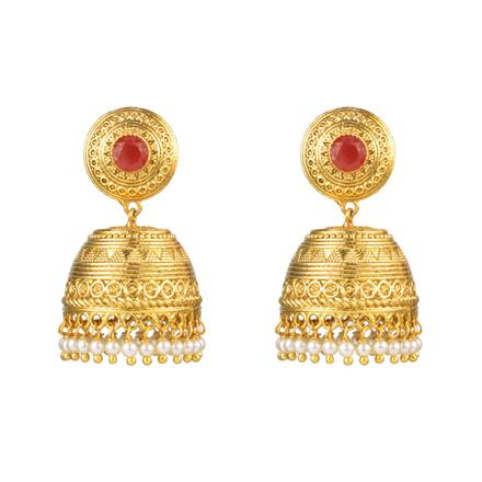 12572 Antique Jhumki with gold plating
