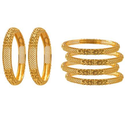 12608 Antique Plain Gold Bangles