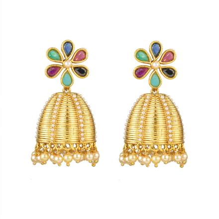 12610 Antique Jhumki with gold plating