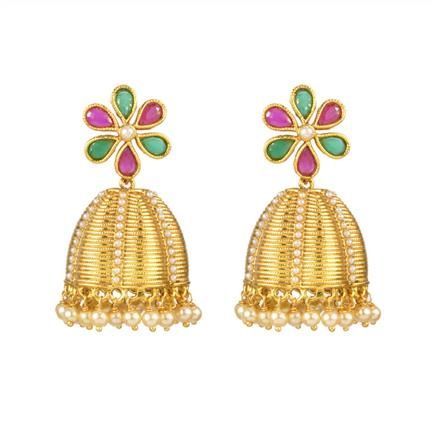12611 Antique Jhumki with gold plating