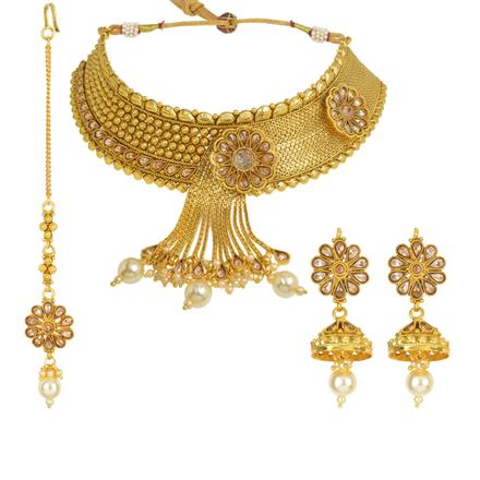 12618 Antique Mukut Necklace with gold plating