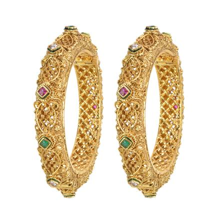 12620 Antique Openable Bangles with gold plating