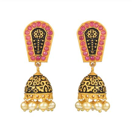 12631 Antique Jhumki with gold plating