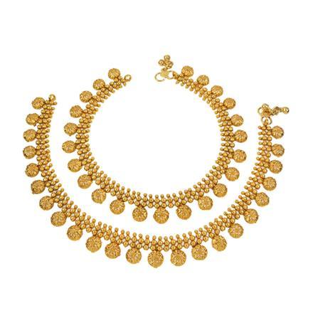 12676 Antique Plain Gold Payal