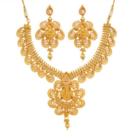 12680 Antique Temple Necklace with gold plating