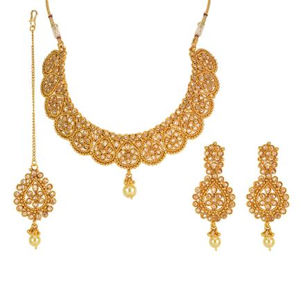 12696 Antique Mukut Necklace with gold plating