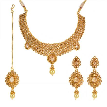 12697 Antique Mukut Necklace with gold plating