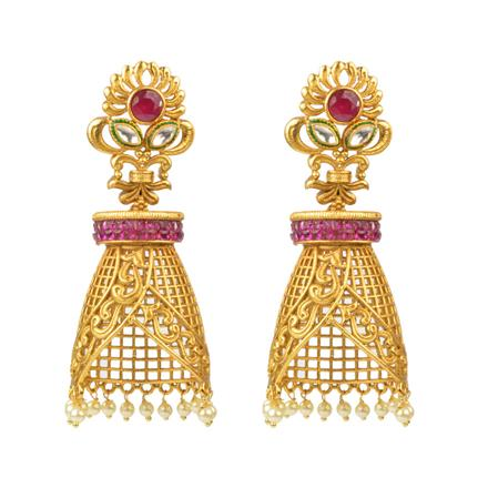 12698 Antique Jhumki with gold plating
